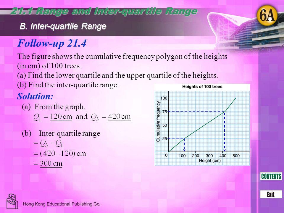 Follow-up 21.4 21.1 Range and Inter-quartile Range Solution: