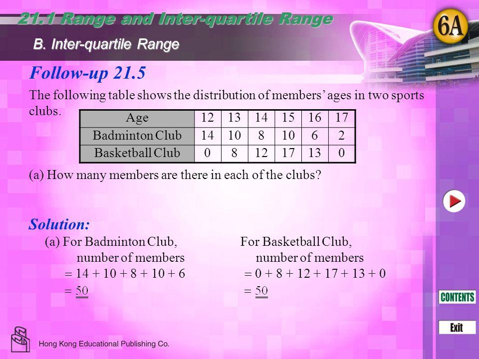 Follow-up 21.5 21.1 Range and Inter-quartile Range Solution: