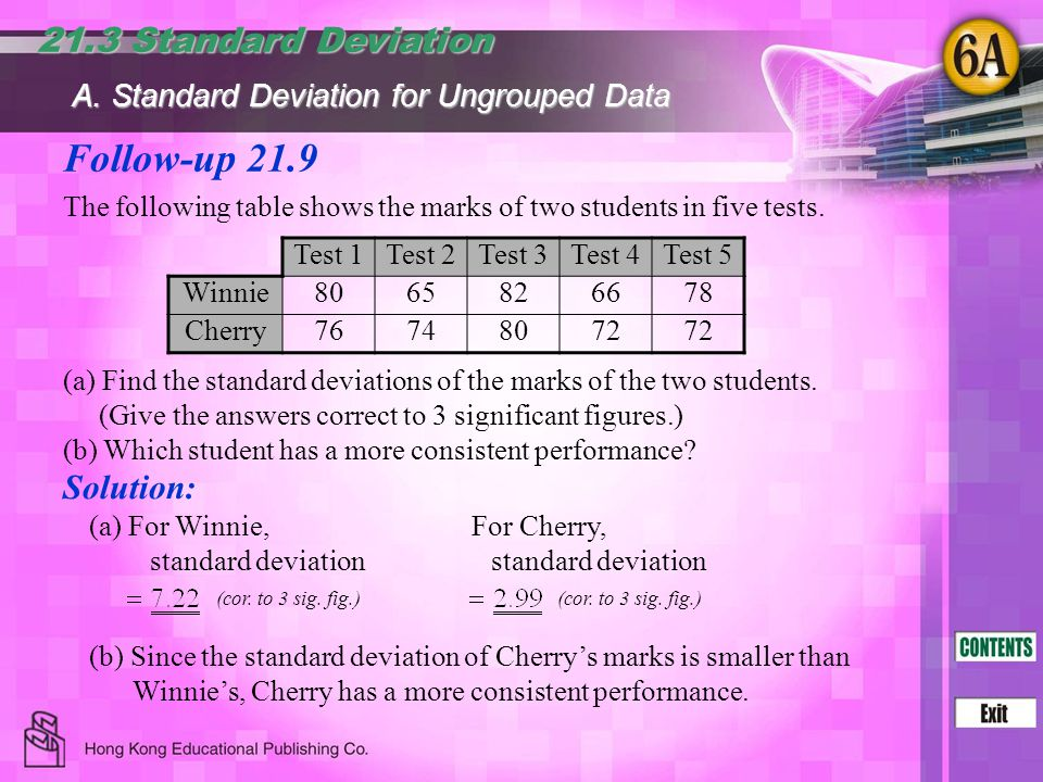 Follow-up 21.9 21.3 Standard Deviation Solution: