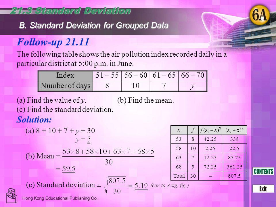 Follow-up 21.11 21.3 Standard Deviation Solution:
