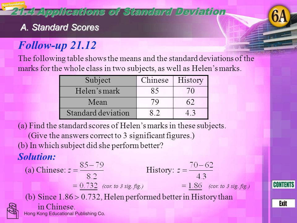 Follow-up 21.12 21.4 Applications of Standard Deviation Solution:
