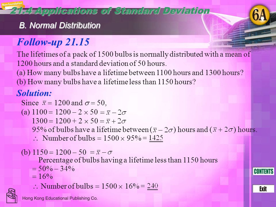 Follow-up 21.15 21.4 Applications of Standard Deviation Solution: