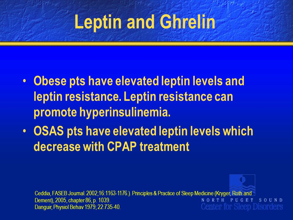 Leptin and Ghrelin Obese pts have elevated leptin levels and leptin resistance. Leptin resistance can promote hyperinsulinemia.