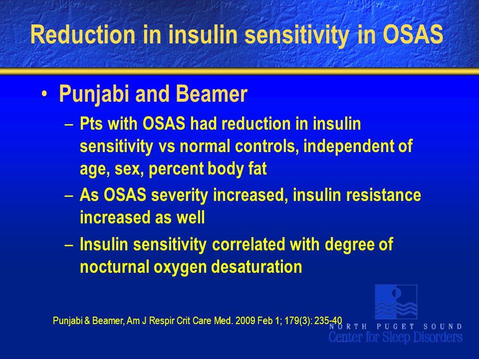 Reduction in insulin sensitivity in OSAS
