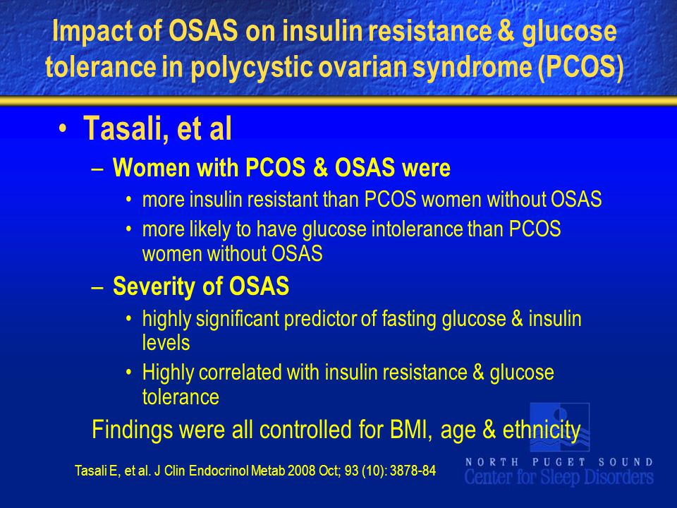 Impact of OSAS on insulin resistance & glucose tolerance in polycystic ovarian syndrome (PCOS)