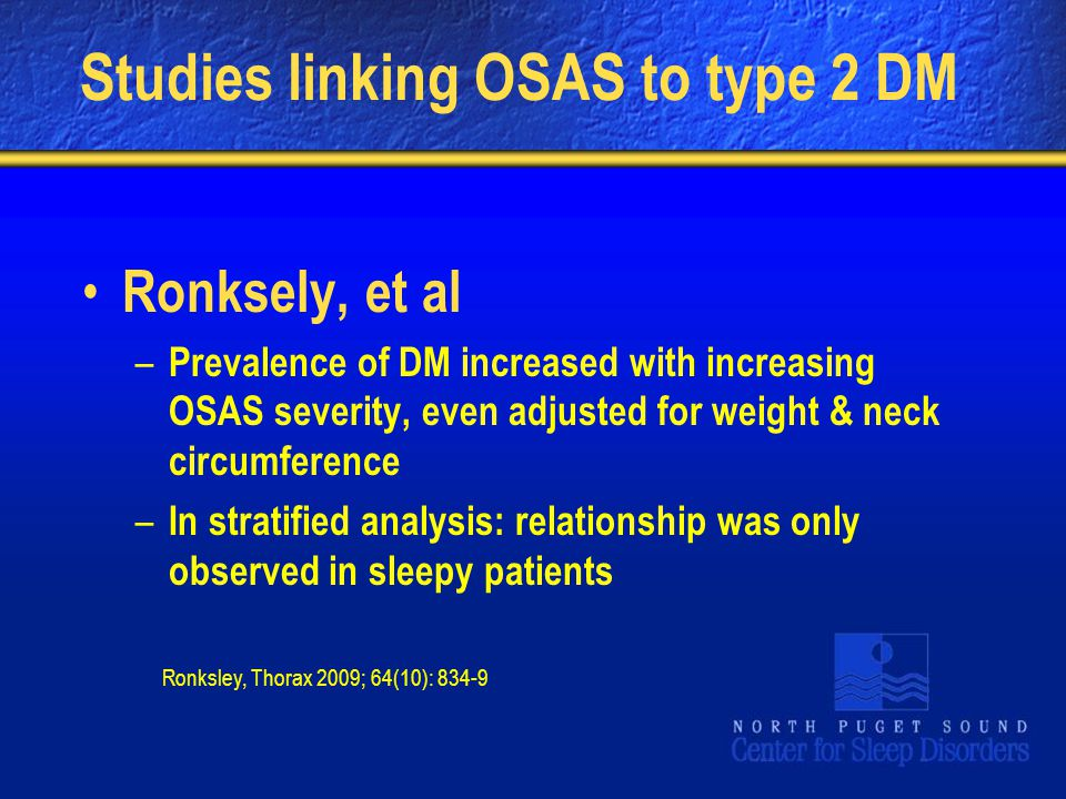 Studies linking OSAS to type 2 DM