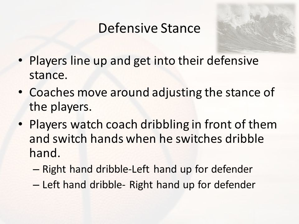 Defensive Stance Players line up and get into their defensive stance.