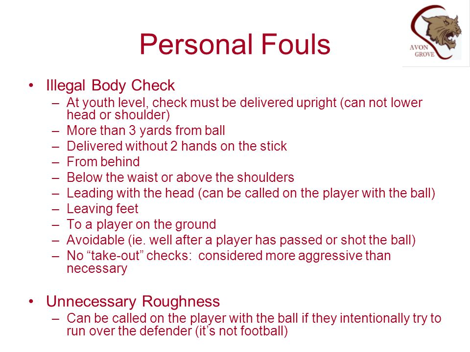 Personal Fouls Illegal Body Check Unnecessary Roughness