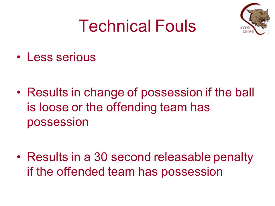 Technical Fouls Less serious