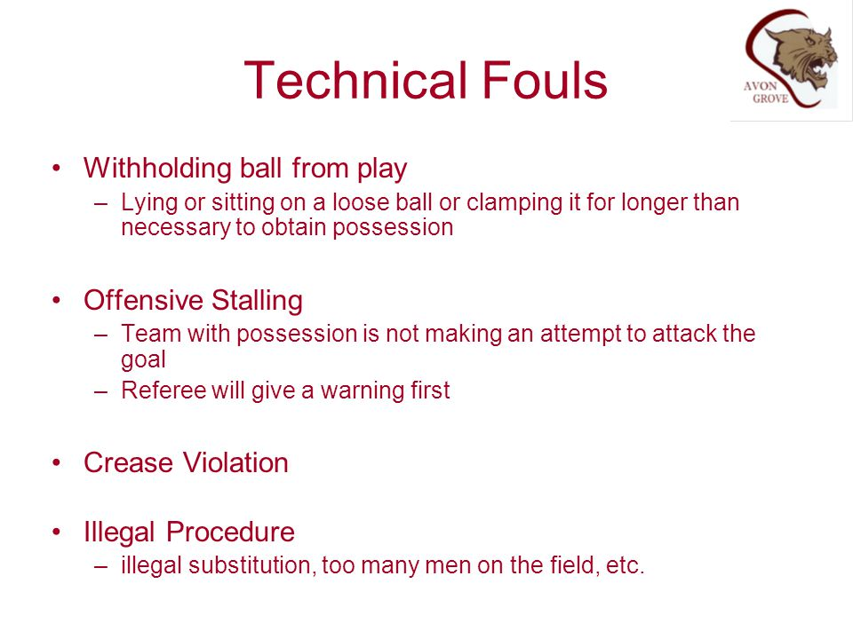 Technical Fouls Withholding ball from play Offensive Stalling