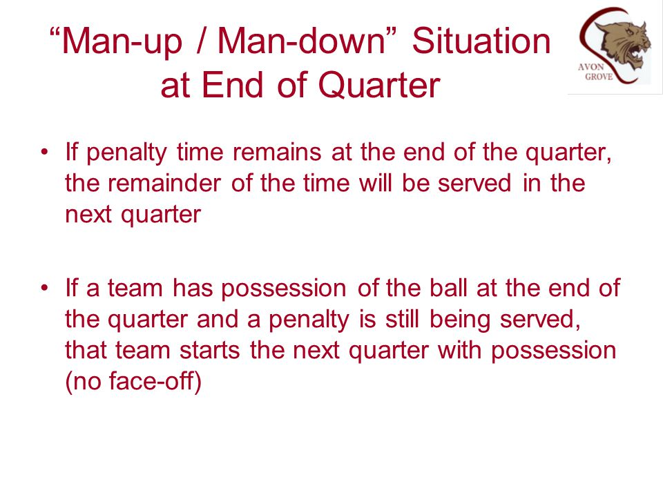 Man-up / Man-down Situation at End of Quarter