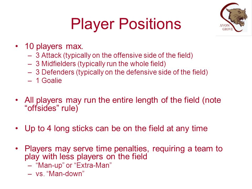 Player Positions 10 players max.
