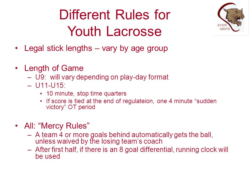 Different Rules for Youth Lacrosse