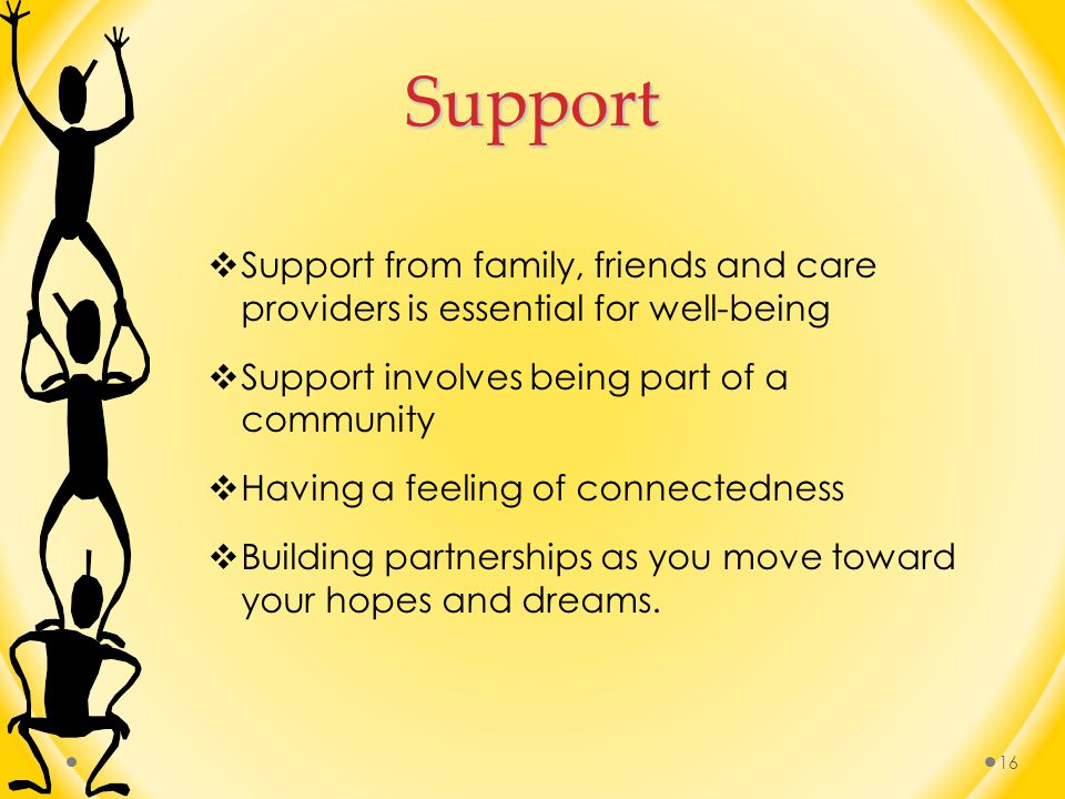 Support Support from family, friends and care providers is essential for well-being. Support involves being part of a community.