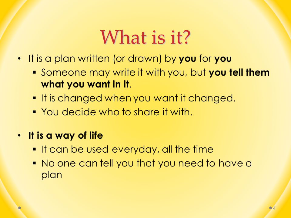 What is it It is a plan written (or drawn) by you for you