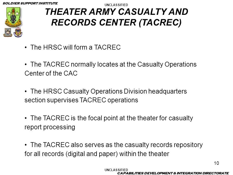 THEATER ARMY CASUALTY AND RECORDS CENTER (TACREC)