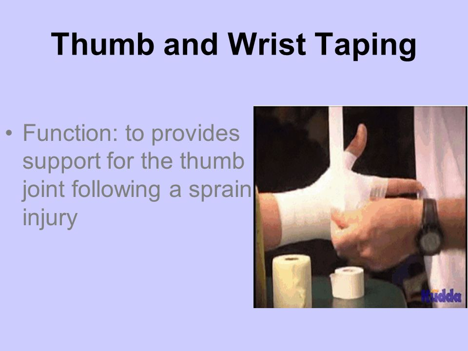 Thumb and Wrist Taping Function: to provides support for the thumb joint following a sprain injury