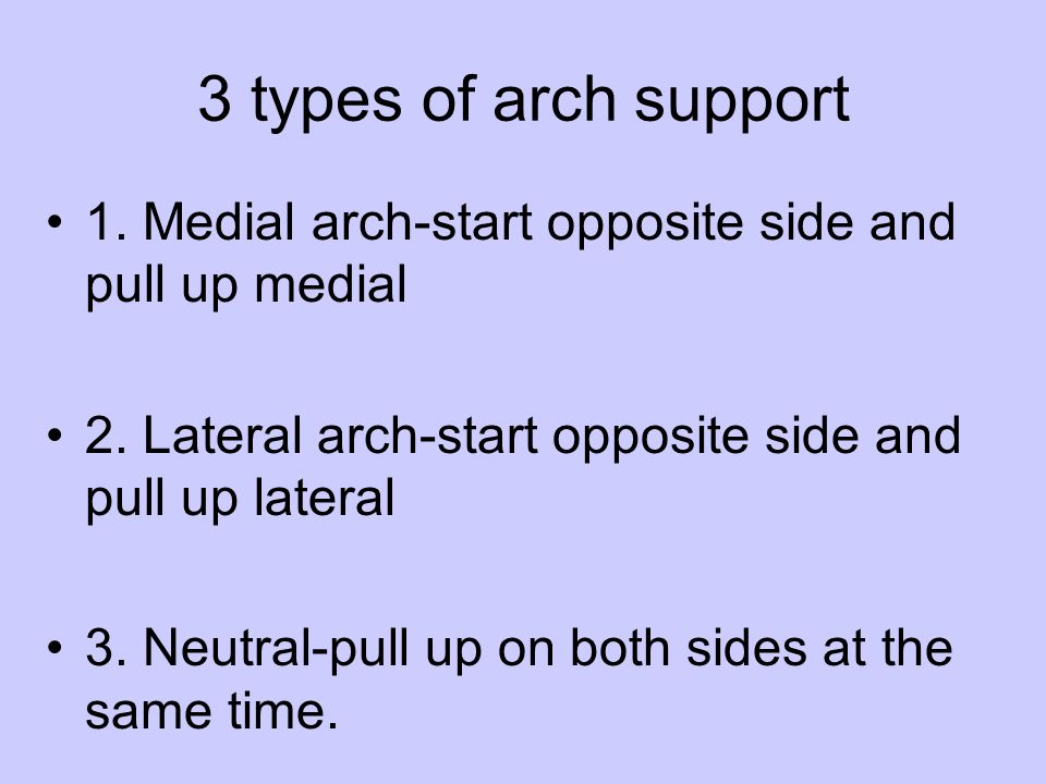 3 types of arch support 1. Medial arch-start opposite side and pull up medial. 2. Lateral arch-start opposite side and pull up lateral.