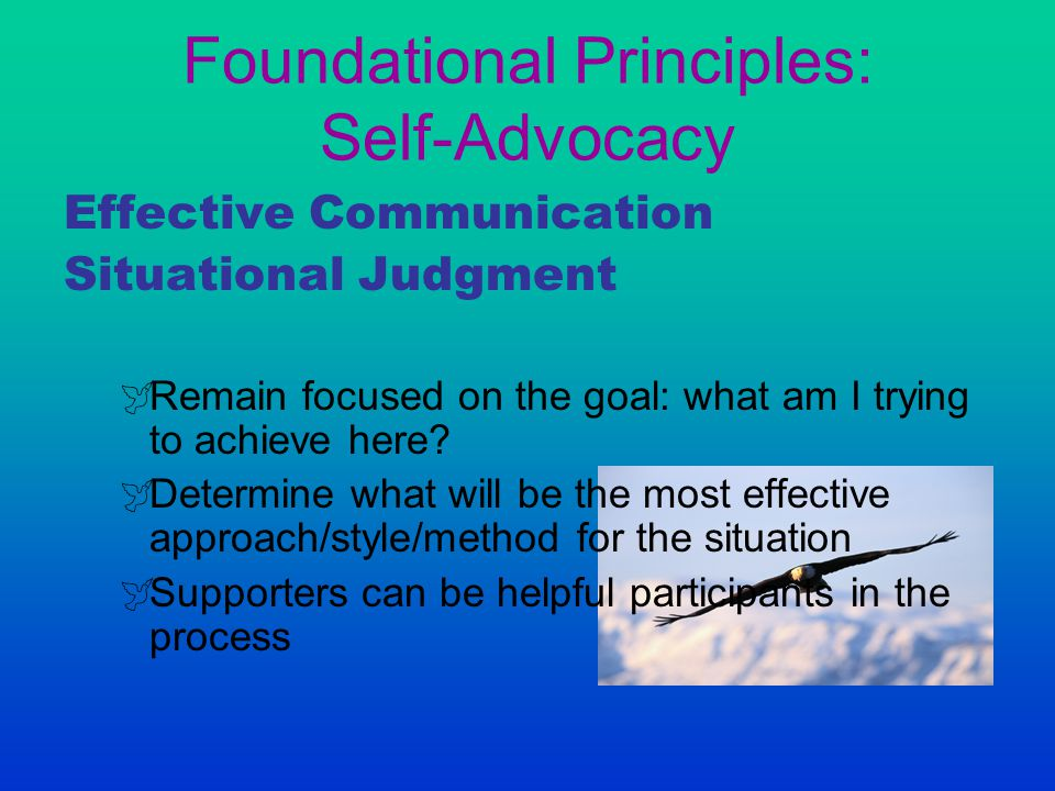 Foundational Principles: Self-Advocacy