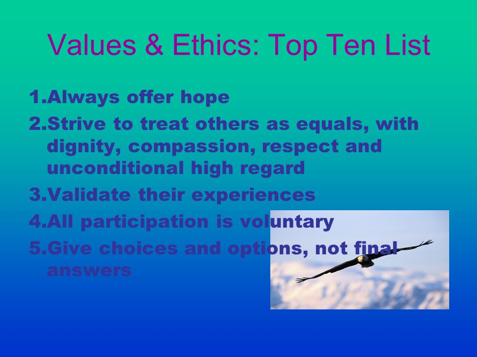 Values & Ethics: Top Ten List