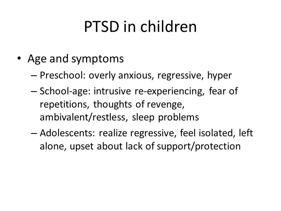 PTSD in children Age and symptoms