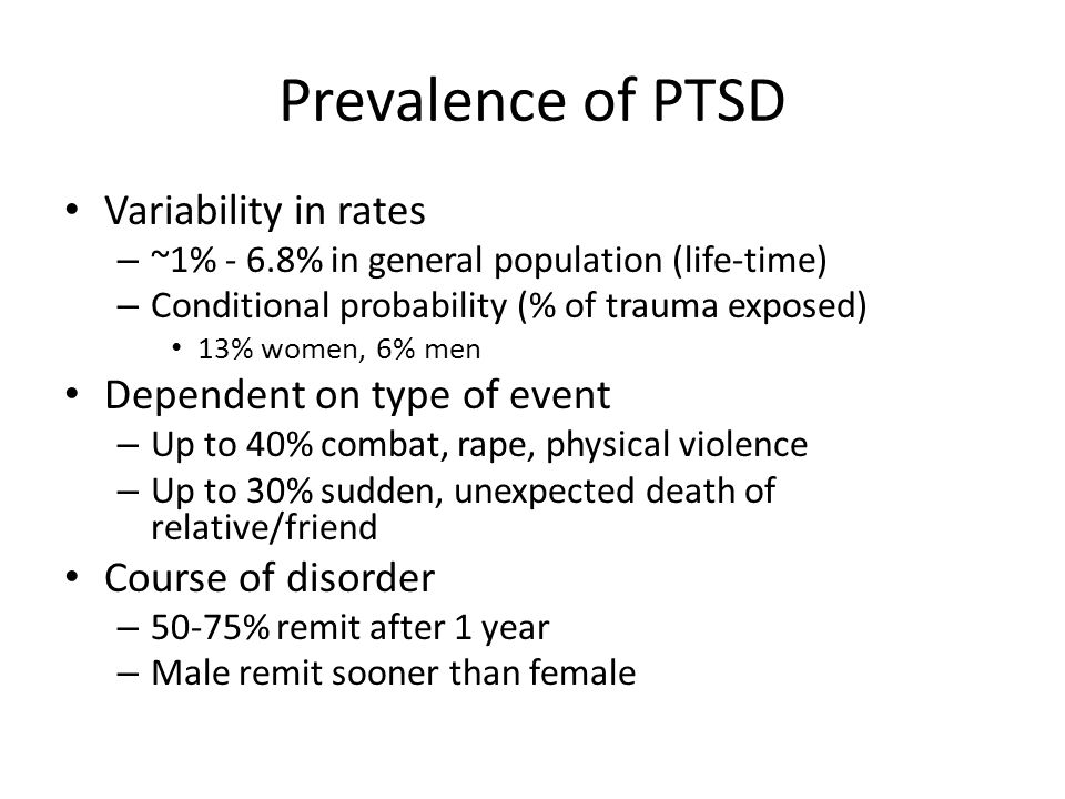 Prevalence of PTSD Variability in rates Dependent on type of event