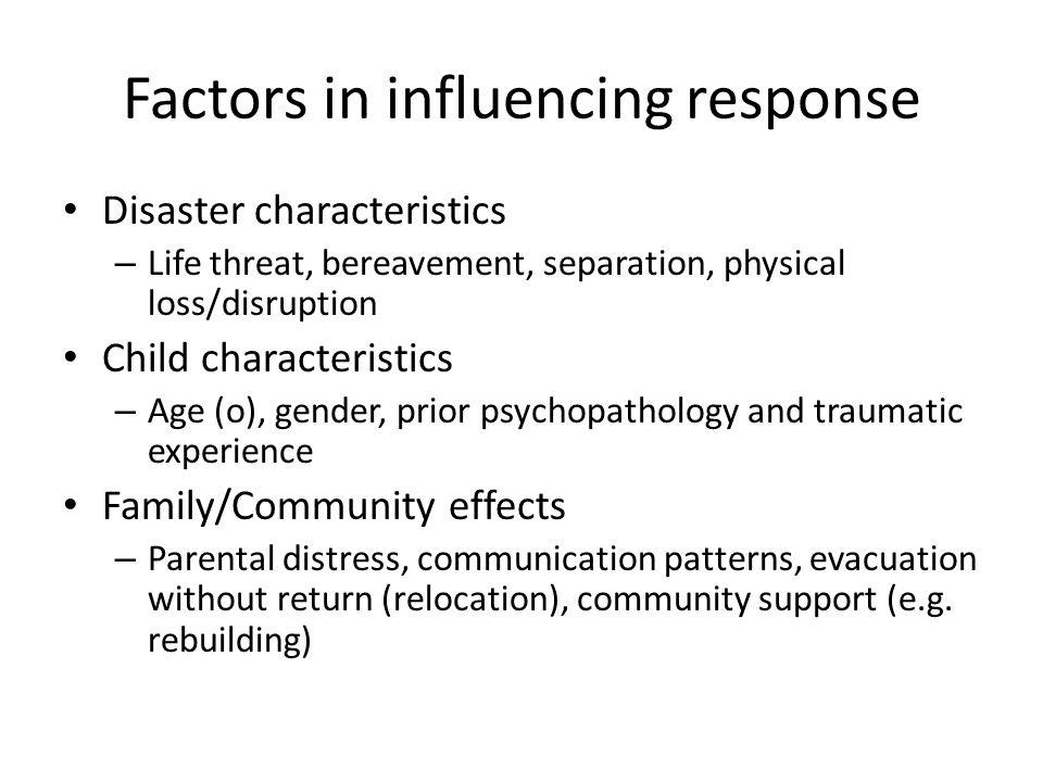 Factors in influencing response