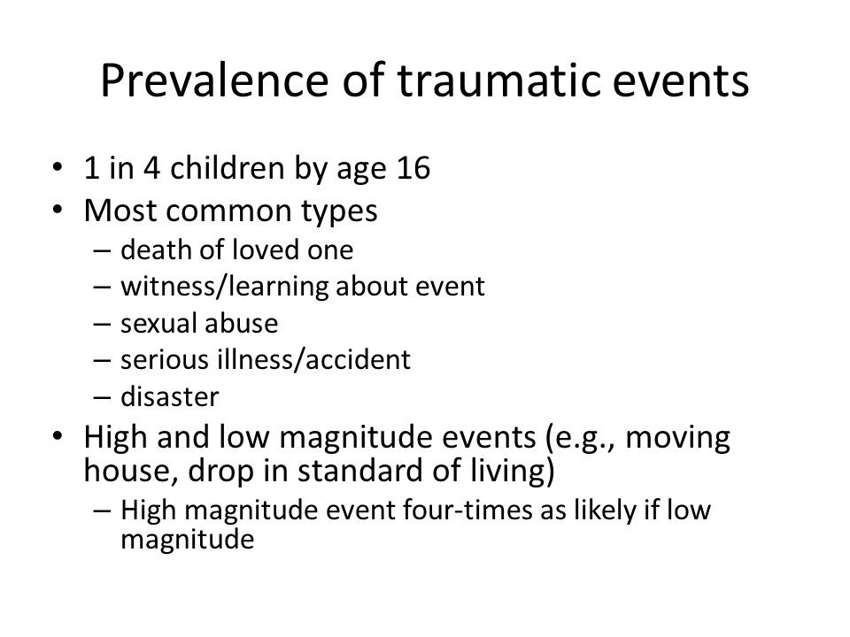 Prevalence of traumatic events