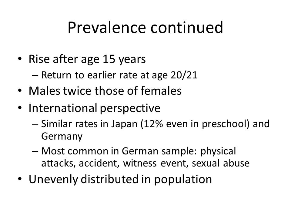 Prevalence continued Rise after age 15 years