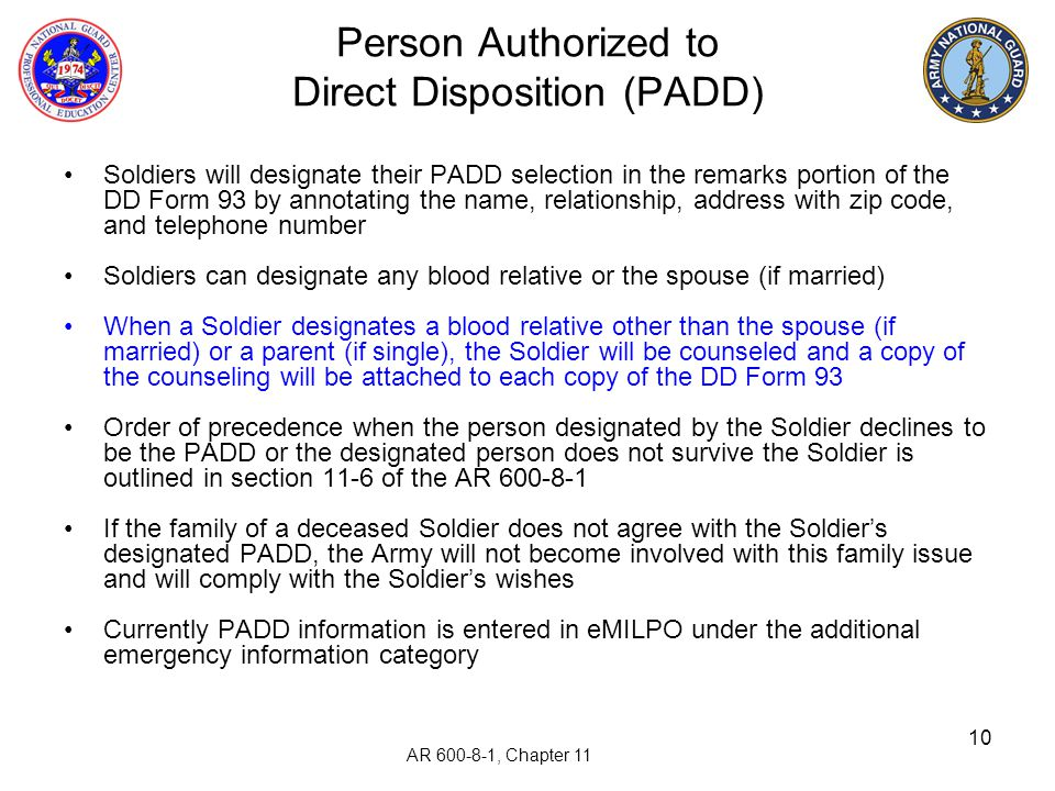 Person Authorized to Direct Disposition (PADD)