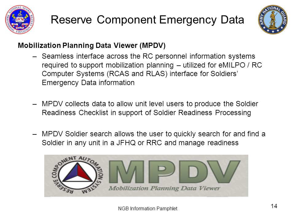 Reserve Component Emergency Data