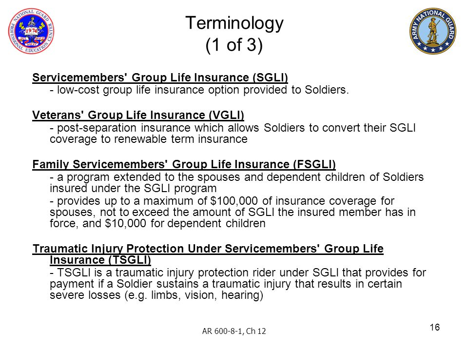 Terminology (1 of 3) Servicemembers Group Life Insurance (SGLI)