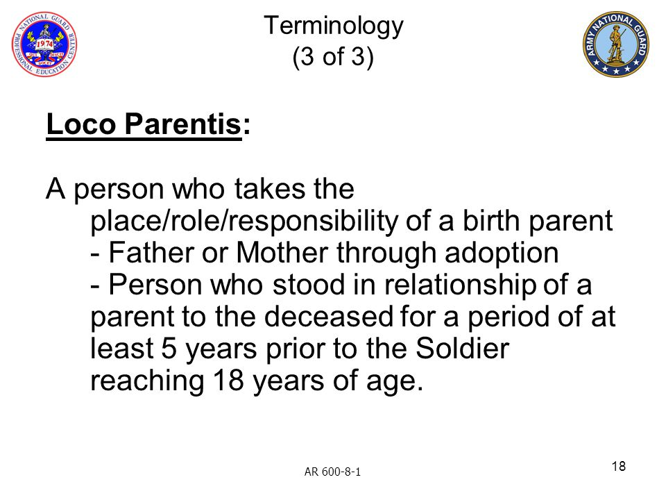 A person who takes the place/role/responsibility of a birth parent