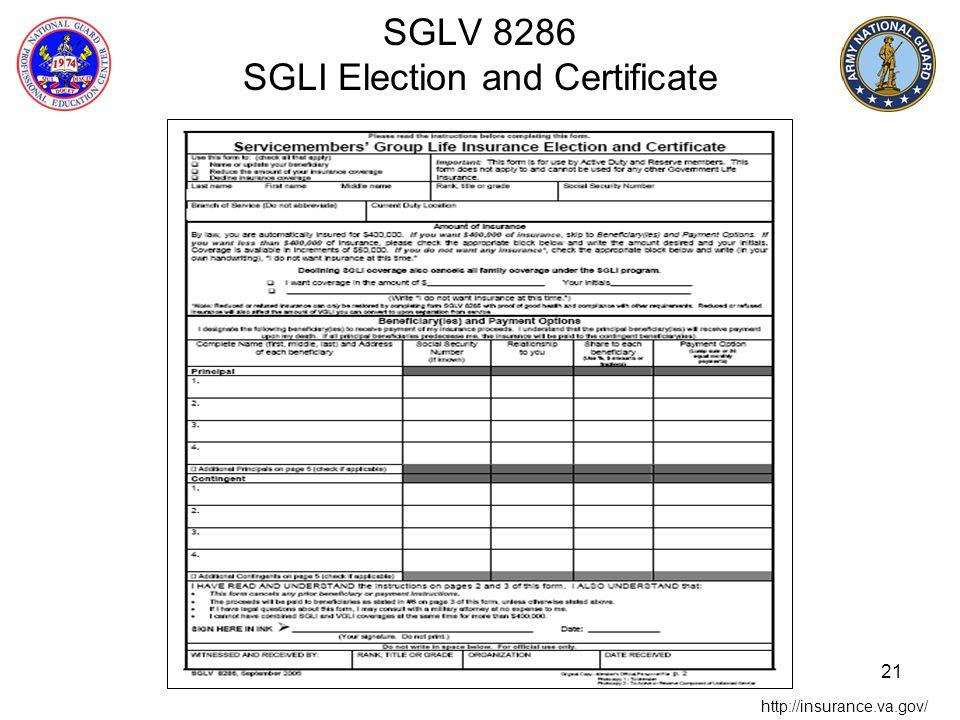 SGLV 8286 SGLI Election and Certificate