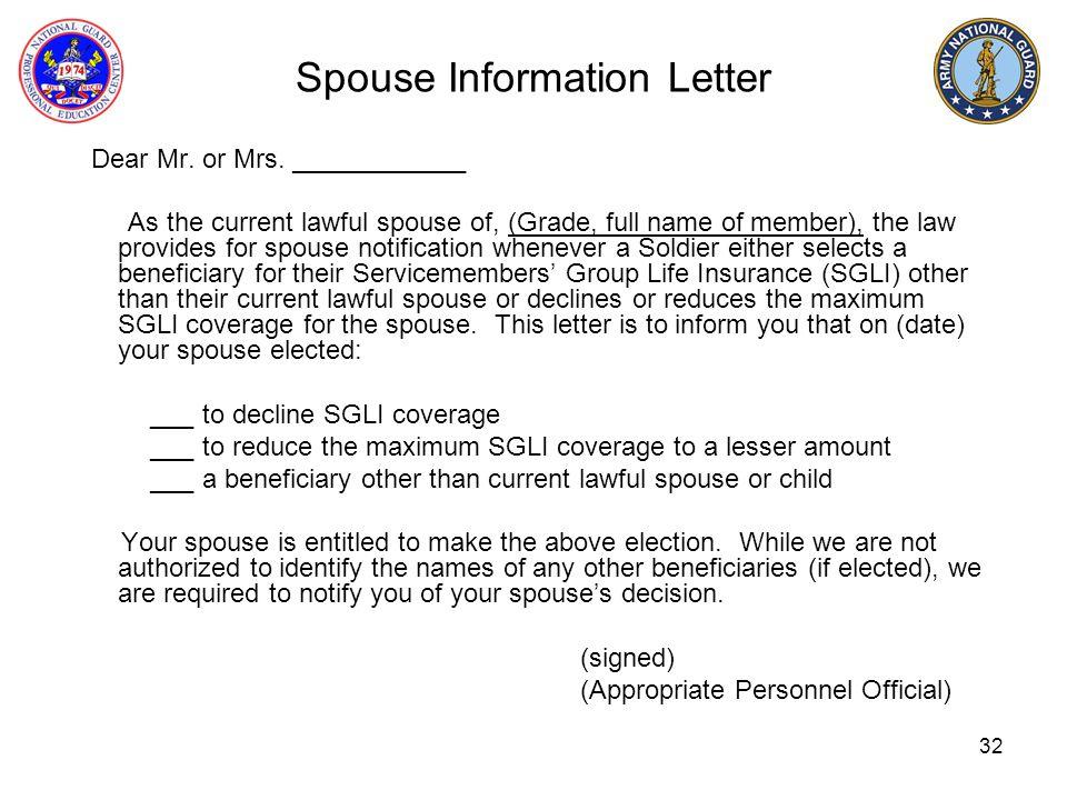 Spouse Information Letter