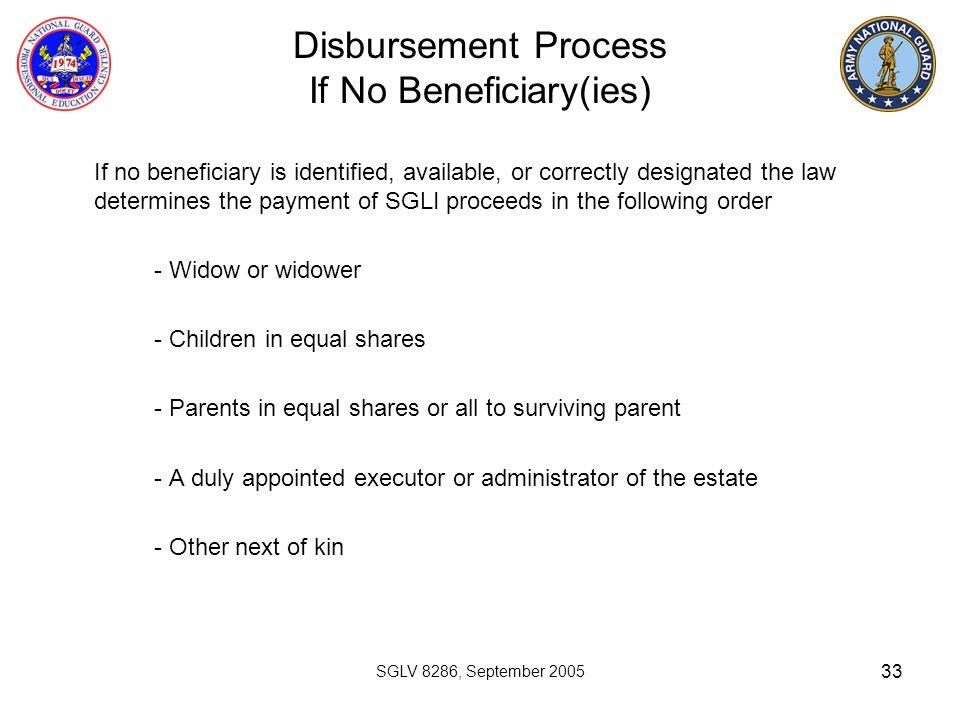 Disbursement Process If No Beneficiary(ies)