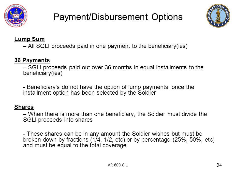Payment/Disbursement Options