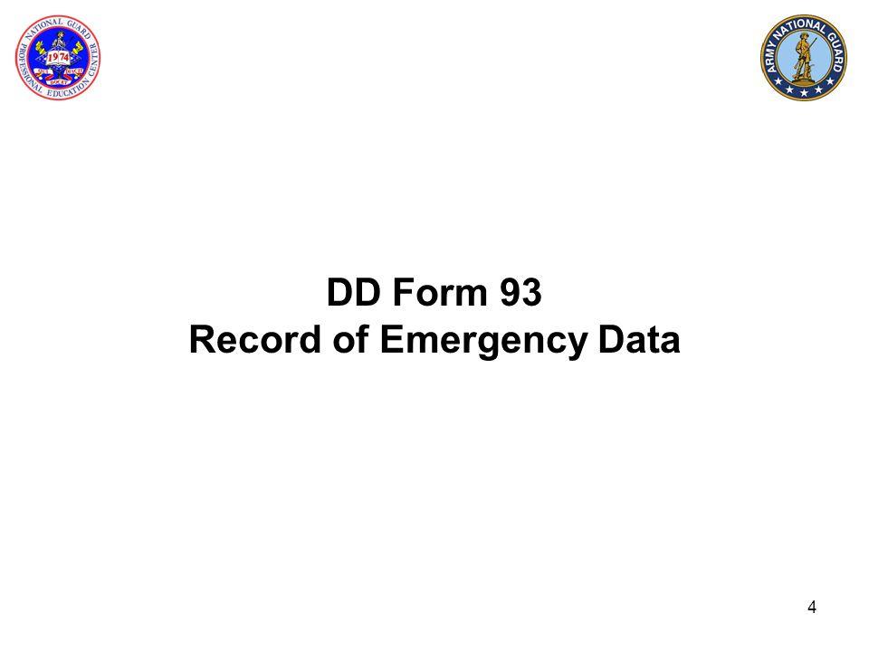 DD Form 93 Record of Emergency Data