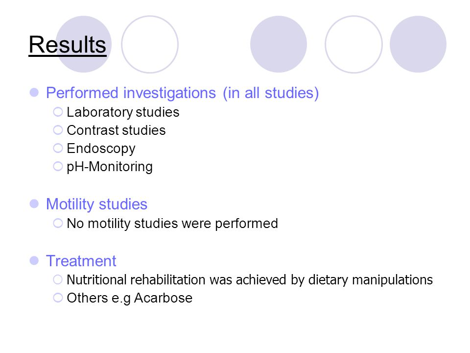 Results Performed investigations (in all studies) Motility studies
