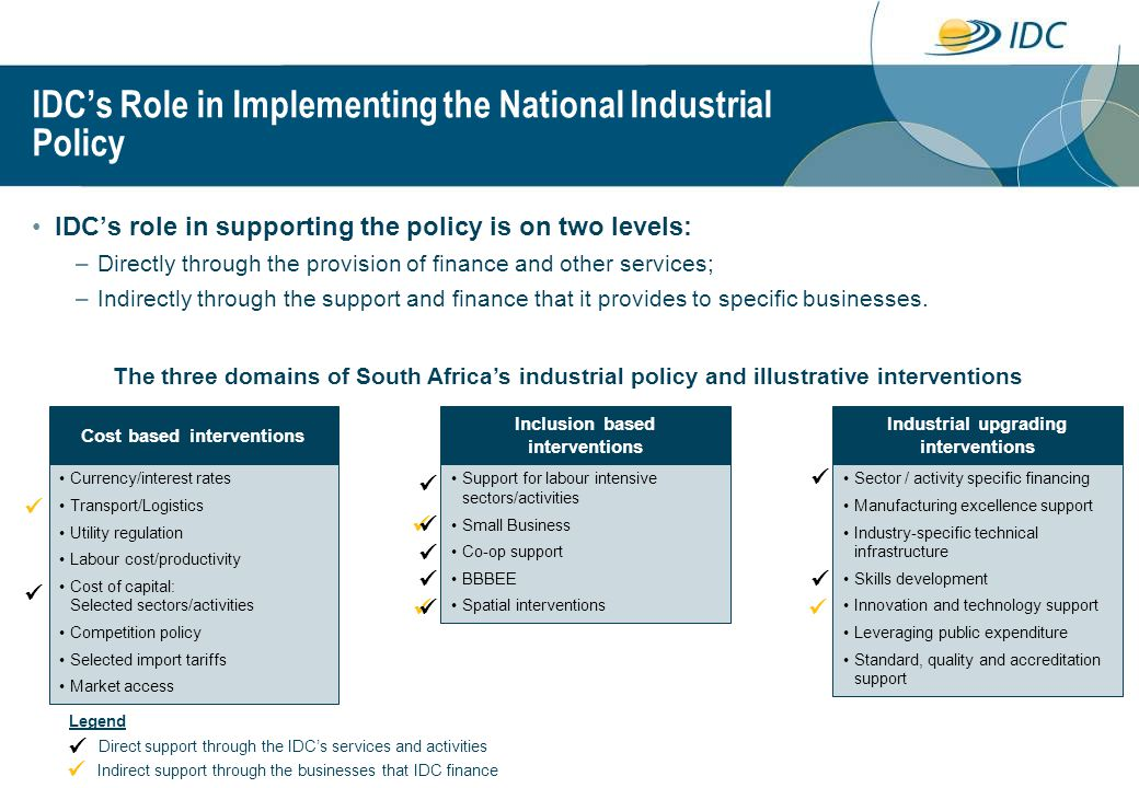 IDC's Role in Implementing the National Industrial Policy