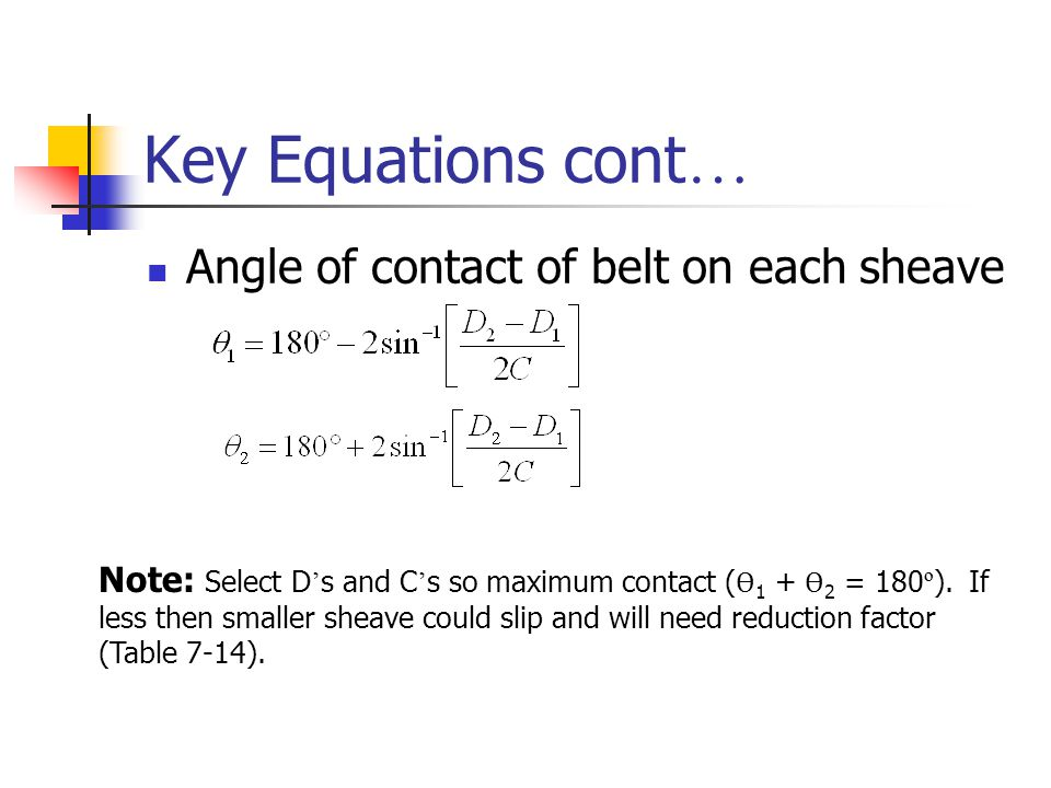 Key Equations cont… Angle of contact of belt on each sheave