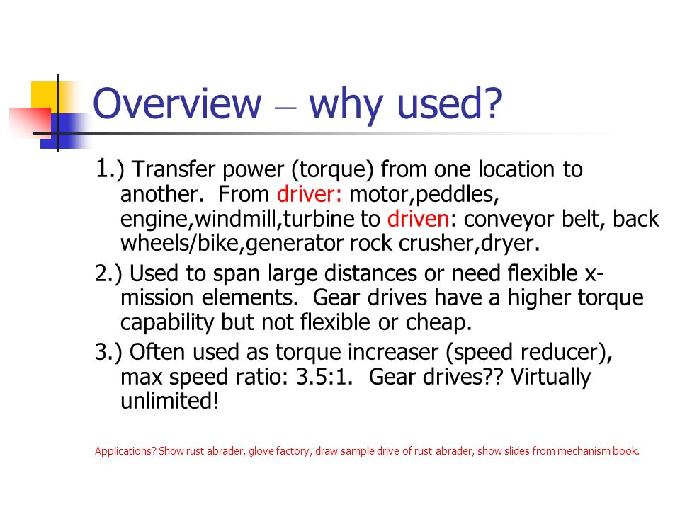 Overview – why used
