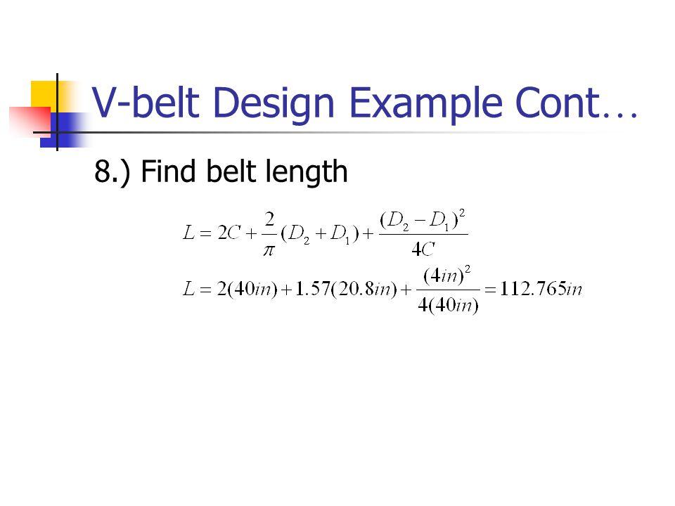 V-belt Design Example Cont…