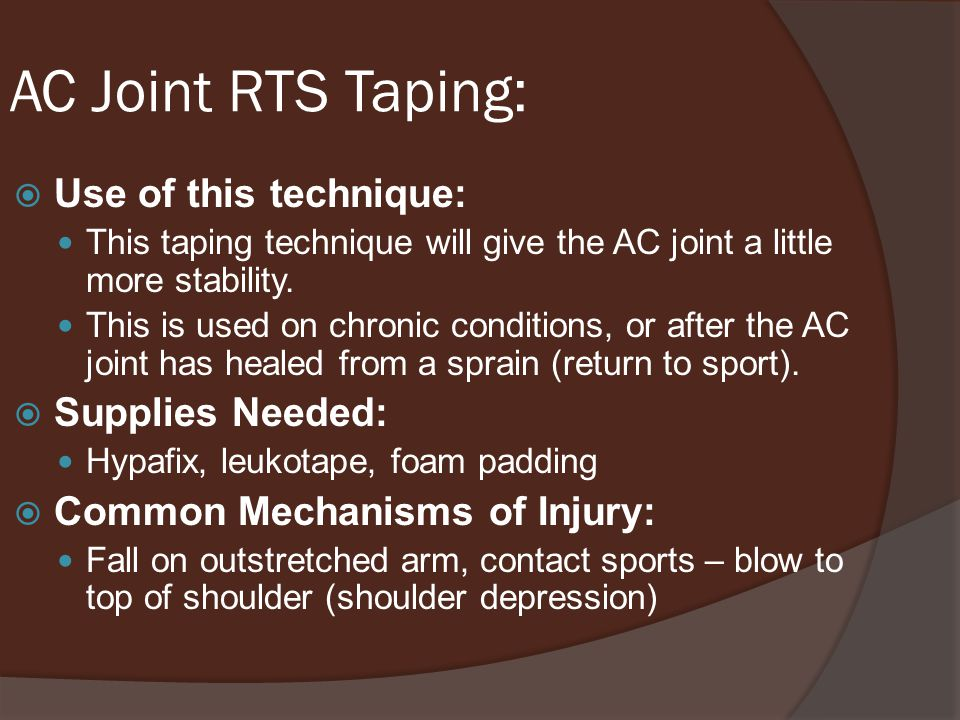 AC Joint RTS Taping: Use of this technique: Supplies Needed: