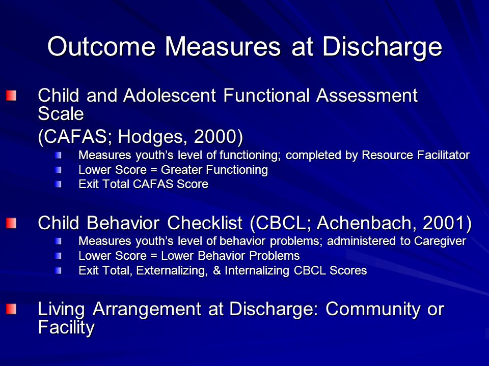 Outcome Measures at Discharge