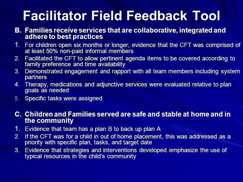 Facilitator Field Feedback Tool