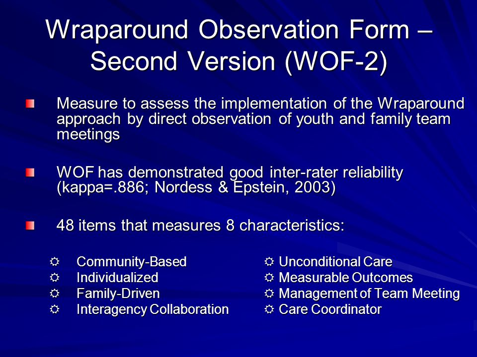 Wraparound Observation Form – Second Version (WOF-2)