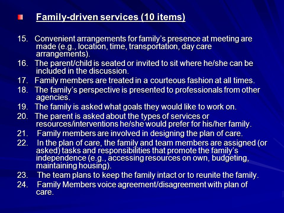 Family-driven services (10 items)