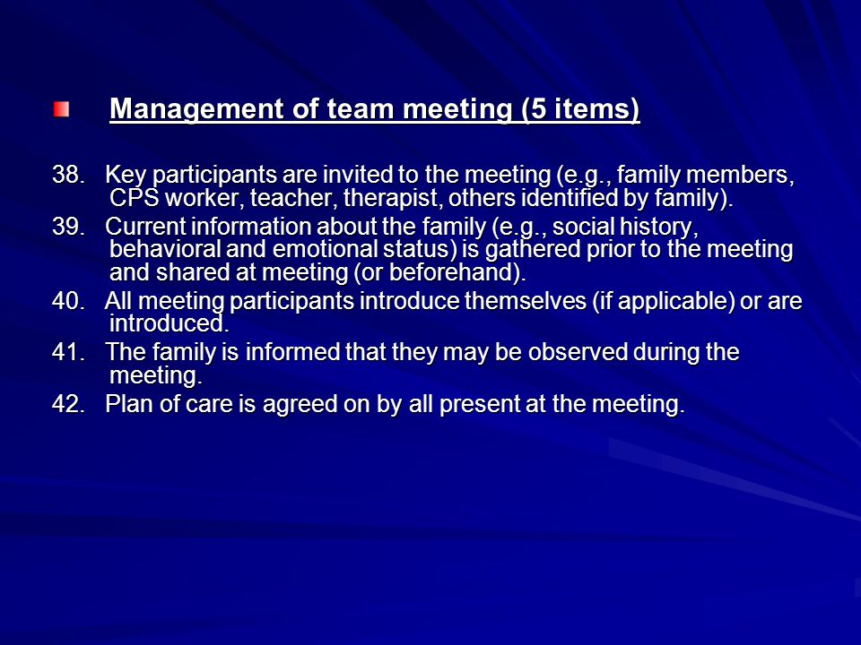 Management of team meeting (5 items)