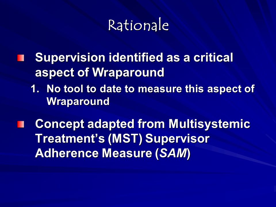 Rationale Supervision identified as a critical aspect of Wraparound